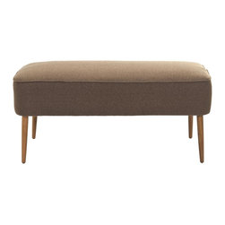 Safavieh - Levi Bench - Brown - Recapturing the design aesthetic of the 1950's in dashing style, the Levi Bench boasts spindle legs in birch wood finished in the look of the period's Danish furniture in natural blond oak. The straightforward lines and warm brown brushed polyester upholstery recall scenes from the TV hit series, Mad Men. Use Levi in front of a bed, in the living room, den and office for extra seating and Mid Century panache.