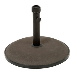 Great Deal Furniture - Benton Round Brown Concrete Umbrella Base - The Benton umbrella base ensures that your umbrella will remain securely intact with style and practicality. Built out of concrete, the 66-pound base can accommodate an umbrella as large as 12 feet. The base rod features a tightening knob to easily secure any sized umbrella pole. Place one under your dining set to provide a shady and relaxing outdoor dining experience with your favorite outdoor umbrella.