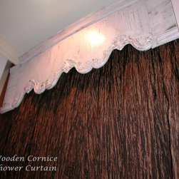 Cornice with curtain panel - This custom cornice board and shower curtain create a one-of-a-kind bath treatment.