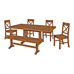 Walker Edison - 6-Piece Millwright Wood Dining Set - Antique Brown - Set includes table, four chairs and bench. Stylish, contemporary design. Constructed of solid wood and high-grade MDF. Solid wood veneer table top. Solid wood legs. Attractive, antique brown finish. Purposeful distressing creates a warm, countryside feel. Self-contained butterfly leaf welcomes additional guests. Strong, trestle style legs. X-back detailing on solid wood chairs. Comfortable, 3-seat solid wood bench. Sturdy, sound construction. Ships ready-to-assemble with necessary hardware and tools. Assembly instructions included with toll-free number and online support. Table Dimensions: 60-77 in.  W x 40 in.  D x 30 in.  H(133 lbs.). Single Chair Dimensions: 21 in.  W x 18 in.  D x 39 in.  H(20 lbs.). Bench Dimensions: 60 in.  W x 14 in.  D x 18 in.  H(32 lbs.)This charming dining set is the perfect addition to any dining room. Set is designed to seat six but with the self-contained butterfly leaf, will easily accommodate larger gatherings or a growing family. The attractive, antique brown finish and distressed detailing create a warm, countryside feel. Perfect for everyday use, these chairs provide comfort and stability. Constructed with beautiful solid wood, the sound construction will last for years to come.