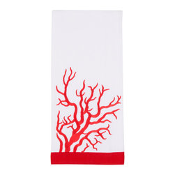 Pomegranate - Coral Hand Towel Set - These fun and bright embroidered hand towels are sure to bring a fashionable piece of the ocean to your bathroom or kitchen. They come in a set of two and are 100% Cotton.