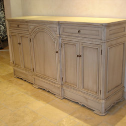 """Crackled and glazed credenza - An elegantly """"aged"""" piece of furniture - solid yellow poplar wood with a crackled paint finish, glazed to accentuate the moulding and carving details."""