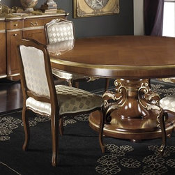 Italian Furniture - dining tables collection - Round Italian dining table is an understated yet elegant example of Italian furniture making. Features a subtle wood inlay and gold leaf accents. Also available is the matching sideboard/buffet shown. ItalyByWeb.com