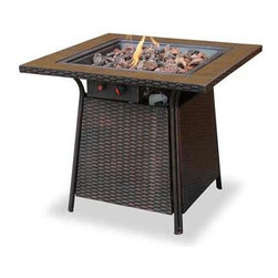 "Blue Rhino - Gas Firebowl Tile Mantel - UniFlame LP Gas Outdoor FireBowl with Tile Mantel.  This Uniflame Slate provides 360 of warmth and view. These appealing outdoor fireplaces are affordable, portable and it is so easy to use. Family and friendly gatherings will be more fun because of the right warmth it brings to your backyard, patio and pool area. 26.8"" x 32"".  30,000 BTU Cast Iron Burner.  Accessible Control Panel with Electronic Ignition.  Lava Rocks Included.  CSA certified."