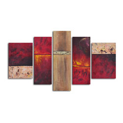 "Francophile wall panels Hand Painted 5 piece canvas set - Size: 68"" x 40"" (16"" x 24"" x 2pc; 12"" x 32"" x 2pc; 12"" x 40"" x 1pc)"