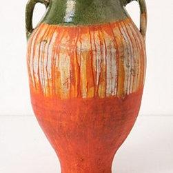 "Anthropologie - Dripped Olea Pot, Orange - Clay, inkWipe clean24""H, 12"" diameterImported"