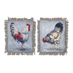 "Uttermost - ""Farm Yard Kings"" Hand-Painted Art, Set of 2 - Barnyard animals have long been a subject of appeal. These cocks of the walk have been hand painted on burlap in vibrant colors to perk up your kitchen or mudroom."