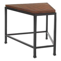 Lexington - Tommy Bahama Ocean Club Pacifica Accent Table - deal for use with the armless curve frame, the clipped triangle sits between two curves or at the end of multiple attached curves to continue the circle while providing space for refreshments or reading materials.
