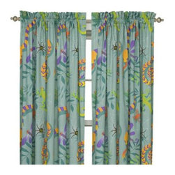 Room Magic - Room Magic Little Lizards Window Panels Curtain Set - RM16-LL - Shop for Window Treatments from Hayneedle.com! The Room Magic Little Lizards Window Panels Curtain Set coordinates with the series' bedding set knobs and accessories for a complete matching look. This adorable designer fabric has crawling lizards slithering snakes climbing frogs and spinning spiders for creative kids with adventurous minds. At 84 inches long and 59 inches wide the two panels perfectly cover even large windows.About Room MagicRoom Magic doesn't just make children's furniture; they design furniture specifically for children using the magic of childhood imagination and creativity as a guiding principle. Beginning in 1999 with graphic designer Karen Andrea's attempt to create a truly lively and unique room for her five-year-old daughter Sarah the company has maintained a focus on using bright colors and unique themes that steer clear of cliched motifs. Bright and bold playful cut outs decorate the quality hardwood pieces finished with beautiful stains. With collections that are geared both to boys and to girls Room Magic provides the furniture accessories and bedding you need to bring the magical fun of childhood to your kids' rooms.