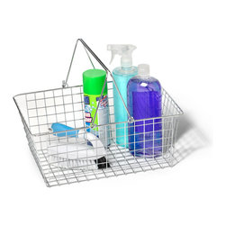 Spectrum Diversified Designs - Handled Wire Basket, Large - Instantly organize any room in your home with our large Wire Handled Basket. Store lotions, soap and sprays in the kitchen, bath or laundry room, packets in the pantry, or to contain craft supplies. Made of sturdy steel with a chrome finish.