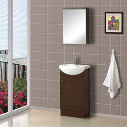 "BathAuthority LLC dba Dreamline - 18"" Floor Standing Modern Bathroom Vanity with Counter & Medicine Cabinet - DreamLine ceramic bathroom vanities are available in different styles and colors. Combining beauty with function, they would fit any bathroom design. Made with high quality MDF wood"