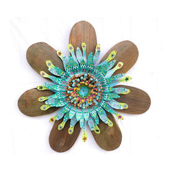 Souvenir Farm, Ltd. - Barn Wood Flower Wall Art With Turquoise Centerpiece - Add texture and color to your home indoors or out, with our barn wood flower wall art.