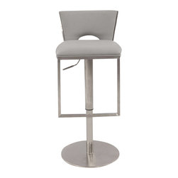 "Chintaly Imports - Low Back Upholstered Pneumatic Gas Lift Stool in Brushed Stainless Steel - This is a pneumatic gas lift adjustable height stool. It comes in a brushed stainless steel finish, with Grey PU upholstered seat. The height adjusts from counter stool height of 23"" up to the bar stool height of 32""."