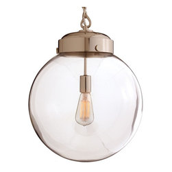 Arteriors Home - Arteriors Home Reeves Large Polished Nickel/Glass Pendant - Arteriors Home 49912 - Arteriors Home 49912 - The Reeves Large Polished Nickel/Glass Pendant from Arteriors features a handcrafted hand blown glass globe that makes each pendant unique. The polished nickel hardware adds a sleek, clean feel to this contemporary pendant light. An antique light bulb (not included) completes the look by offering a warm glow while showing off spectacular glowing filament designs. Perfect for foyers, hallways, and cozy nooks.