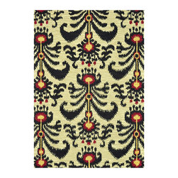Loloi - Loloi Rugs Milano Beige & Black Hand Tufted Wool Rug - The hand-tufted Loloi Milano rug recalls eclectic sophistication for the mod interior. Lush with texture, the colorful floor covering's ikat pattern celebrates global inspiration. 100% wool; Black, beige, gold and red; Rug pad recommended; Vacuum regularly and clean with common wool cleaning detergent