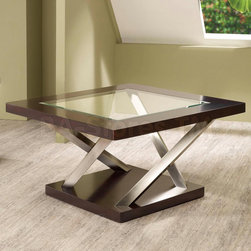 """Contemporary Coffee Table in Espresso/ Satin Nickel - Add a bold and modern look to your room with this glass top coffee table. Angled """"X"""" supports in satin nickel can create a unique focal point in any room."""