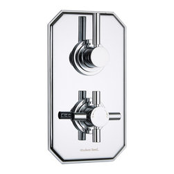 Hudson Reed - Tec Concealed Twin Shower Valve Single Outlet With Traditional Plate in Chrome - Featuring a traditional trim plate with a chrome finish to blend in with any decor, this twin thermostatic shower valve from Hudson Reed supplies water at a pre-set temperature to either a fixed shower head, shower handset or tub filler. Made in Great Britain from brass, this high quality thermostatic shower valve incorporates ceramic disc technology and an anti-scald device for a safer showering experience.