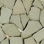 """Glass Tile Oasis - Avocado Pebbles and Stones Green Sandstone Series Tumbled Natural Stone - Sheet size: 12"""" x 12"""""""