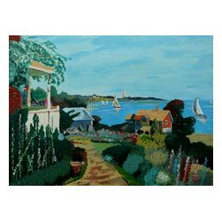 """A Flowering Cove, Original, Painting - """"This peaceful scene of a cove filled with sailboats from a garden view has been painted using watered acrylics on pressed paper. The bright, happy colors should brightenen any room and make you feel happy. It is 10X13 inches or 26X36 centimeters."""""""