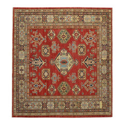 6x6 Square Tribal Design Super Kazak Oriental Rug Hand Knotted 100% Wool SH15490 - This collections consists of well known classical southwestern designs like Kazaks, Serapis, Herizs, Mamluks, Kilims, and Bokaras. These tribal motifs are very popular down in the South and especially out west.