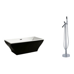 "AKDY - AKDY 67"" AK-ZF296B+8711 Euro Style White Acrylic Free Standing Bathtub w/ Faucet - AKDY free standing acrylic bathtubs come in many styles, shapes, and designs. The acrylic material used for tubs is very durable, light weight, and can be molded into a variety of shapes and styles which explain the large selection available in this product category. Acrylic free standing tubs are a cost efficient way to give your bathroom a unique beautiful touch. A bathtub is no longer just a piece of cast iron metal thrown into a bathroom by a builder."