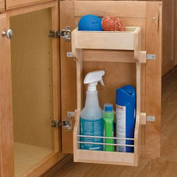"Home Decorators Collection - Rev-A-Shelf Small Sink Base Door Storage Organizer - Rev-A-Shelf's Small Sink Base Door Storage Organizer helps you store cleaning supplies in a convenient spot under the sink. The adjustable door mount brackets allow you to customize the position of the storage trays. Rev-A-Shelf offers both the professional and the homeowner the finest cabinet storage solutions available. Patented door mount brackets with up to 5"" of adjustability. Removable polymer bin for easy cleaning. Durable wood construction. Limited lifetime warranty."