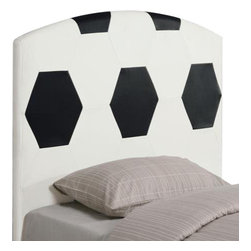 Coaster - Soccer ball Headboard By Coaster - Description: Create a fun look in the youth bedroom in your home with a sports headboard. This twin sized headboard is available in a basketball, baseball, soccer ball, and football design. Clean straight edges and a gently curved crown create a simple style in these upholstered headboards. Choose your favorite sport for the perfect look for your child's bedroom. The Youth Headboards Twin Sports Headboard by Coaster is available in the area from Coaster. Dimension: Soccer ball HEADBOARD -- COASTER 460168 (51.50X44.75X3)