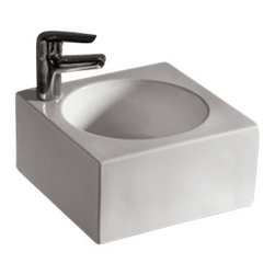 Whitehaus Collection - Whitehaus WHKN1093 White Ceramic Square Above Mount Bathroom Sink Basin - Whitehaus Collection bathroom sinks are modern sleek and stylish. A great option for anyone that wants a unique and eye catching bathroom design!