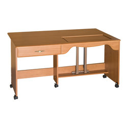 "Sewingrite - Sewingrite Model 910B Ultimate Quilting And Embroidery Sewing Table Rustic Maple - Sewing tables are used for sewing but are more often used for utilities such as cutting and layout. Dimensions: 60"" Wide x 19 3/4"" (open 35 1/2) Deep x 30 1/4"" High. Shipping Weight: 119 lbs."