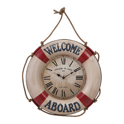 iMax - welcome Aboard Wall Clock - Preserve your appoinent-keeping abilities, as well as your love of coastal style with a nautically inspired wall clock with vintage appeal and a friendly message of welcome.