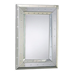 Marriot Mirror - A striking construction of mirrored tiles, assembled into bevels and accented with dimensional dimples in evenly-spaced dots, makes the Marriot Mirror a remarkably space-enhancing addition to your wall. When aglow with light, this mirror has a radiant yet controlled, geometric feel that's perfect for expanding a smaller room or adding interest to a larger wall.