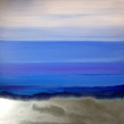 Silver Mist (Original) by Margaret Myers - The majesty of a blue ocean landscape can be breathless especially when the sun turns the mist into a metallic silver!