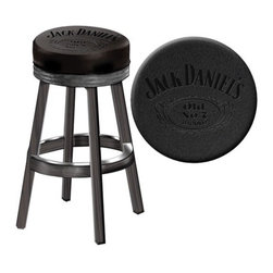"Jack Daniel's Lifestyle Products - Jack Daniel's Wood Bar Stool - Features: -Crafted from select hardwood. -Hand rubbed Tennessee Charcoal finish. -Embossed Old No. 7 logo on the seating surface. -Matching footrest with silver kick plate protects the base. -High density foam cushions. -360 Degree swivel. -Some simple assembly required. -30.25"" x 17"" x 17""."