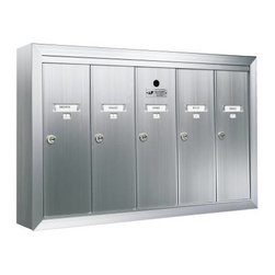 AUTH-FLORENCE - Vertical 4 Door Mailbox - Anodized aluminum surface mounted mailbox for small apartment buildings. Individual 5-pin cylinder locks with 2 keys each and tenant name card holder standard.