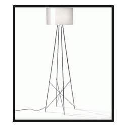 """Flos - Ray floor lamp - Product description:  The Ray floor lamp has been designed by Rodolfo Dordoni from Flos. This floor lamp provides diffused and direct light. Made from Aluminum, this structure features a aluminum or glass outer shade. A table version is also available.        Details:                                Manufacturer:               Flos                                   Designer:                             Rodolfo Dordoni - cir. 2008                                                Made in:              Italy                                  dimensions:               small: Height: 50"""" (127 cm) x Diameter: 16 7/8"""" (43 cm)              large: Height: 67"""" (170 cm) x Diameter: 14 1/4"""" (36 cm)                                  Light bulb:               small: 1 x 150W Halogen              large: 1 x 250W Halogen                                  Material:               aluminum, glass"""