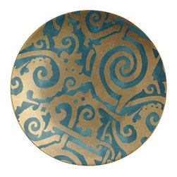 """L'Objet - L'Objet Fortuny Dessert Plates Maori Teal, Set of 4 - The artisans of Venice inspire us. Their carefully guarded secrets of technique have been handed down directly from the ancient world, one generation of skilled hand-crafters to the next. There is one who especially speaks to the heart of L'Objet - the legendary fashion and textile designer Mariano Fortuny - revealing a deep and kindred connection that transcends time. It sets the pattern and pace of this collaboration.Earthenware Set of 4 Hand Applied 24K GoldHand Wash, Measures: 8"""" Diameter. Luxuriously Gift Boxed. L'Objet is best known for using ancient design techniques to create timeless, yet decidedly modern serveware, dishes, home decor and gifts."""