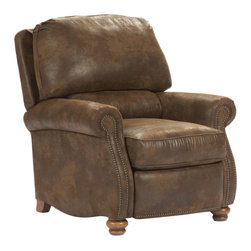 Broyhill - Broyhill 'Laramie' Brown Classic Recliner - Incorporate classic,rustic style into your home decor with this Laramie recliner. Accented with small nail heads,this charming seat features a comfortable polyester blend fabric and deep-seated reclining function.