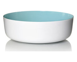 Inova Team -Contemporary Melamine Bowl, Blue - The scientifically formulated Pantone-colored interior of this bowl pops against a stark white body. Made of durable melamine, this deep, sculptural vessel can be used as a snazzy serving bowl, or a stylish centerpiece.