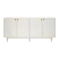 Worlds Away Mathis 4 Door Console , White - Matte white lacquer 4 door buffet with gold detailed glass knob hardware. Each section opens to reveal one adjustable shelf. Has drillouts in interior for media. Adjustable hinges.