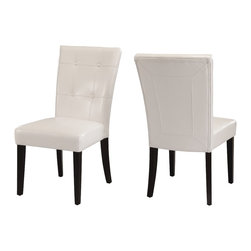 Modus Furniture International - Bossa Dining Height Parsons Chair in White Leatherette (Set of 2) - In Brazil, to do something with bossa is to do it with particular charm and natural flair. Available in counter and dining height with 48 and 54 inch tops, Bossa tables pair straight lined architectural bases with round floating tops, built out edge bands and book matched veneer surfaces. Parsons chairs, banquettes and kitchen counter stools are available in several fresh colors and blend transitional button tufting with a contemporary profile, upholstery application and wood finish. The result is an urban contemporary casual dining set designed with ample bossa.