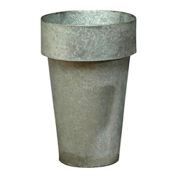 Galvanized Container - Slight roughness and dark grey patina characteristic of worn tin make this narrow metal planter, the Small Galvanized Container, a perfect homage to the traditional decorator's taste for weathered hues. Unusual in its upright proportions but classic in its shape, this planter brings a more thoughtful, slightly edgy note to the container garden or to the table centerpiece.