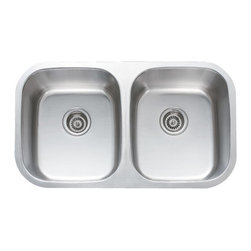"TCS Home Supplies - 32 Inch Stainless Steel Undermount 50/50 Double Bowl Kitchen Sink - 18 Gauge - Undermount Kitchen Sink. 18 Gauge Stainless Steel. 50/50 Double Bowl. Dimensions 32-1/4"" x 18-1/2"" x 9""."