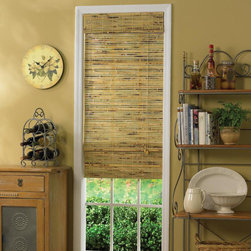 None - Java Natural Bamboo Roman Shade - Create a relaxing ambiance in your room with this energy-saving bamboo Roman shade. The natural-finished shade pairs beautifully with country-themed decorative styles. All necessary hardware is included,and the shade is easy to install.
