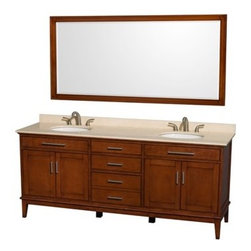 """Wyndham Collection(R) - Hatton 80"""" Double Bathroom Vanity by Wyndham Collection - Light Chestnut - The Wyndham Collection is an entirely unique and innovative bath line. Sure to inspire imitators, the original Wyndham Collection sets new standards for design and construction.Bring a feeling of texture and depth to your bath with the gorgeous Hatton vanity series - hand finished in warm shades of Dark or Light Chestnut, with brushed chrome or optional antique bronze accents. A contemporary classic for the most discerning of customers.Available in multiple sizes and finishes.FeaturesConstructed of environmentally friendly, zero emissions solid Birch hardwood, engineered to prevent warping and last a lifetime12-stage wood preparation, sanding, painting and hand-finishing processHighly water-resistant low V.O.C. sealed finishBeautiful transitional styling that compliments any bathroomPractical Floor-Standing DesignMinimal assembly requiredDeep Doweled DrawersFully-extending under-mount soft-close drawer slidesConcealed soft-close door hingesCounter options include Ivory Marble and White Carrera Marble Counter includes 3"""" backsplashAvailable with Porcelain undermount sink(s)Oval sink(s) available with pre-drilled 8"""" Widespread 3-Hole faucet mountsSquare sink(s) available with pre-drilled Single-Hole faucet mounts. Additional holes may be drilled by customer on site.Faucet(s) not includedMetal exterior hardware with brushed chrome finishOptional metal exterior hardware with antique bronze finishFour (4) functional doorsThree (3) functional drawersPlenty of storage spaceVariations in the shading and grain of our natural stone products enhance the individuality of your vanity and ensure that it will be truly uniquePlenty of counter spaceHow to handle your counterSpec Sheet for VanityInstallation Guide Spec Sheet for 24"""" Mirror Spec Sheet for 70"""" Mirror Spec Sheet for Medicine Cabinet Installation Guide for Medicine Cabinets Spec Sheet for Linen Tower Natural stone like marb"""