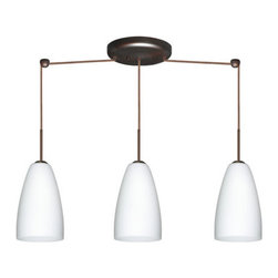Besa Lighting - Besa Lighting 3JB-151107 Riva 3 Light Linear Pendant - The Riva 9 pendant features a softly radiused glass, that will gracefully blend into almost any decorating theme. Our Opal glass is a soft white cased glass that can suit any classic or modern decor. Opal has a very tranquil glow that is pleasing in appearance. The smooth satin finish on the clear outer layer is a result of an extensive etching process. This blown glass is handcrafted by a skilled artisan, utilizing century-old techniques passed down from generation to generation. The cord pendant fixture is equipped with three (3) 10' SVT cordsets and a 3-light linear canopy, two (2) suspension stemhooks included.Features: