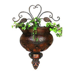 "Benzara - Metal Wall Planter - If you are looking for low cost but rare to find elsewhere utility- decor item to bring extra galore that could refresh the decor appeal of short spaces in garden or porch, beautifully carved 21814 METAL WALL PLANTER may be a good choice.; Material: Rust free premium grade metal alloy; Color: Brown; Unique supporting wall decor; Hard to be seen elsewhere; Exclusively designed for limited edition; Size: 11""H"