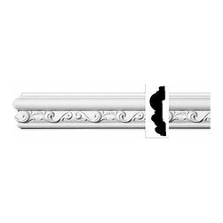 Renovators Supply - Crown Moldings Urethane Ornate Roslindale - Crown Molding | 11597 - Crown Moldings: Made of virtually indestructible high-density urethane our crown molding is cast from steel molds guaranteeing the highest quality on the market. High-precision steel molds provide a higher quality pattern consistency, design clarity and overall strength and durability. Lightweight they are easily installed with no special skills. Unlike plaster or wood urethane is resistant to cracking, warping or peeling.  Factory-primed our crown molding is ready for finishing.  3 1/8 inch H x 96 inch L.