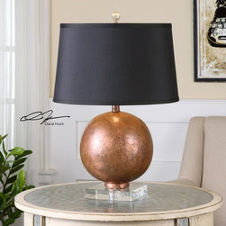 Uttermost - Uttermost Armel Oxidized Copper Table Lamp - Layered Oxidized Copper Sheeting Over Wood Accented With A Crystal Foot. The Tapered Round Hardback Shade Is A Black Linen Fabric With Light Slubbing.