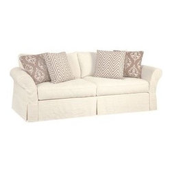 Slipcovered Furniture - Classic Flared Rolled Arm Mystic Grande Slipcovered Sofa, Styled for Relaxed Casual Living Available in an array of Soft 100% Natural Cotton, Linen and Hemp Fabrics.