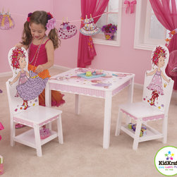 "Kidkraft - Kids Table set Kidkraft Fancy Nancy Table and 2 Chair Set - Our Fancy Nancy Table and 2-Chair Set is everyone's favorite book character. This interactive furniture set lets young girls put on their very own fashion show with Nancy, dressing her up in the included wooden ""dresses.""The wide tabletop is perfect for playing games. They work their homework on their, enjoying a delicious meal and much more. It has Adorable Fancy Nancy artwork, Four interchangeable ""dresses""for Nancy to wear, Dresses stick to the chairs with hook-and-loop material, Dresses not being worn can be stored on the back of the chairs, and Packaged with detailed. It has also Additional storage space under each chair."